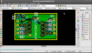 KiCAD board editor with basic circuit.