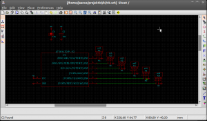 KiCAD schematic editor with basic circuit.