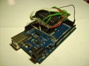 Arduino Mega with Non-Volatile Ferroelectric RAM shield.
