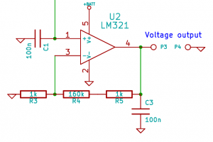 Positive feedback amplifier with gain of 161