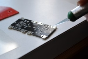 Board with solder paste.