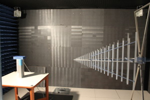 Anechoic chamber, 50x50 cm unit size and up to 18 Ghz measurements.