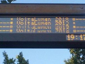 Demo of a installed bus stop screen that is not working at the moment